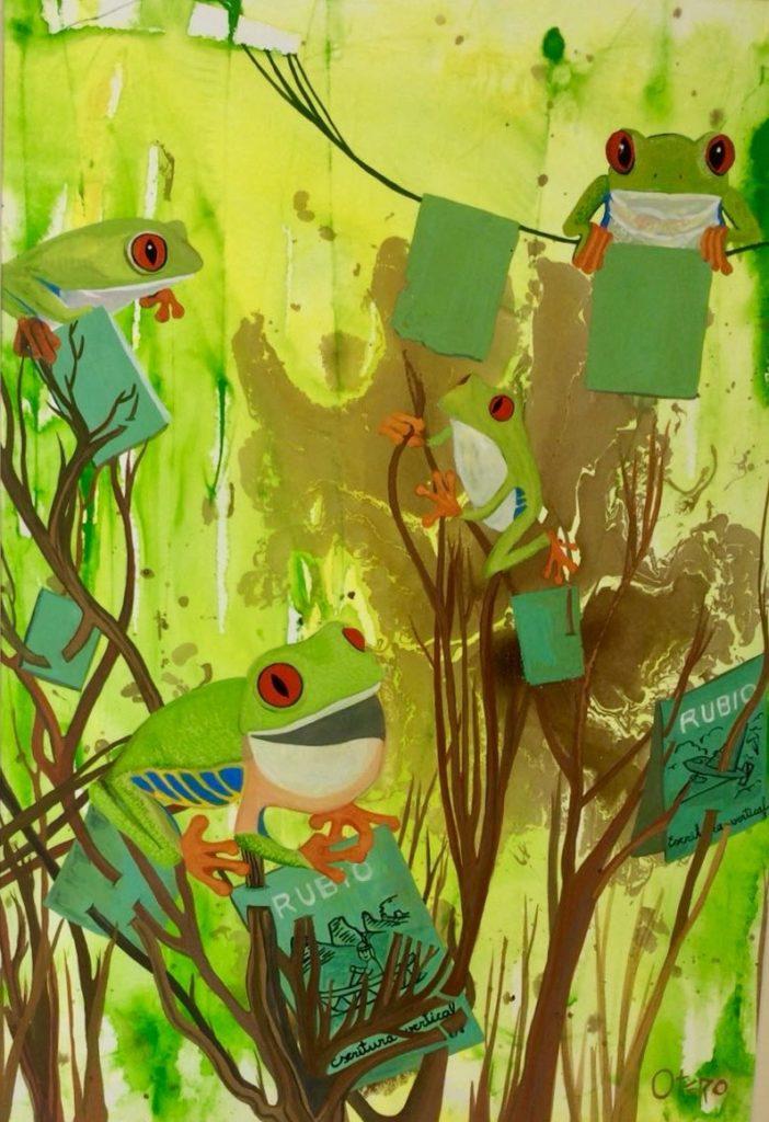 El bosque de las letras, 2018. Gouache técnica mixta 50 x 35 cms.Bego Otero.