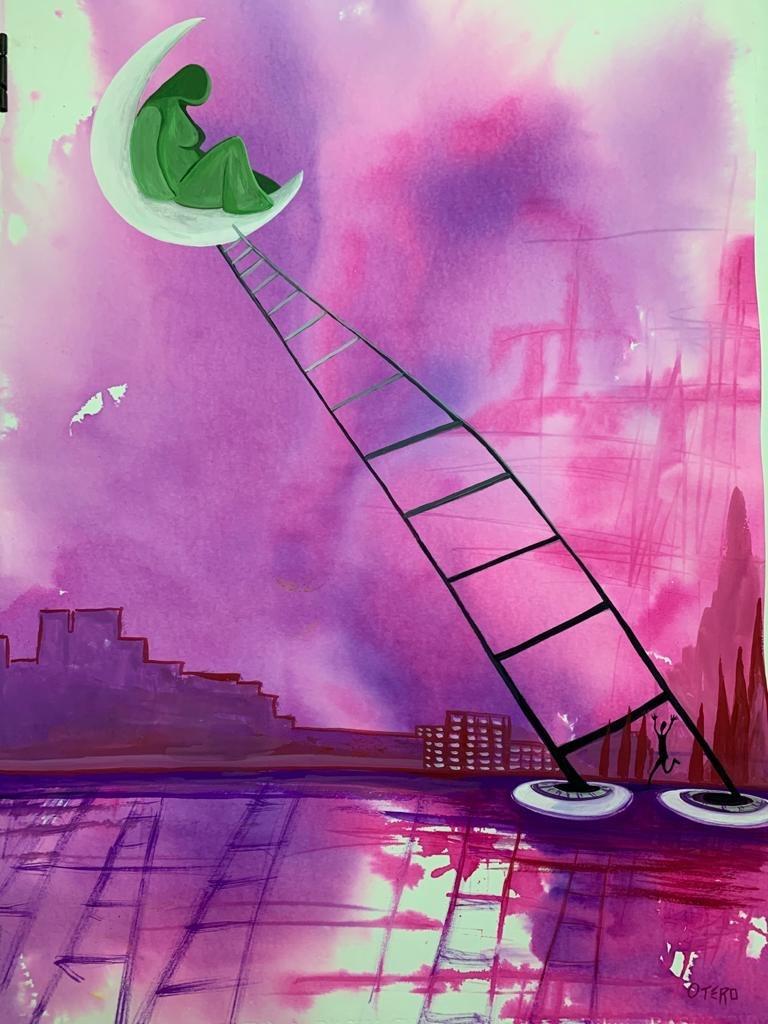 Te esperaré en la luna. Gouache sobre papel Basik, 70x 50 cms.2020. Bego Otero