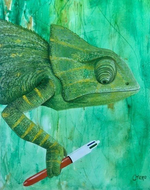 El escriba, Gouache sobre papel Basik 50x33, 2018. Bego Otero. www.oteroart.com