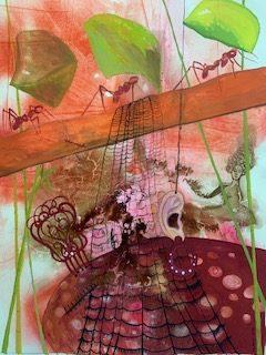 Soñando por bulerías. 2020. Gouache sobre papel Basik, 70x 50 cms.1994. Bego Otero