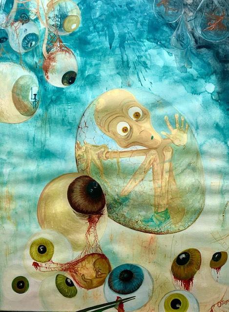 Cuturulo II, 2004.Gouache sobre cartulina Basik 50x 70 cms. Bego Otero
